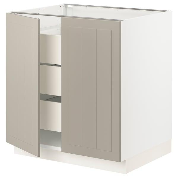"SEKTION / MAXIMERA Armoire inférieure 2 ptes/3 tir, blanc/Stensund beige, 30x24x30 """