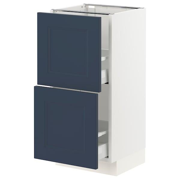 "SEKTION / MAXIMERA Armoire inférieure 2 tiroirs, blanc Axstad/mat bleu, 15x15x30 """