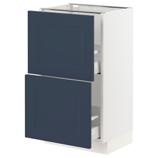 "SEKTION / MAXIMERA Armoire inférieure 2 tiroirs, blanc Axstad/mat bleu, 18x15x30 """