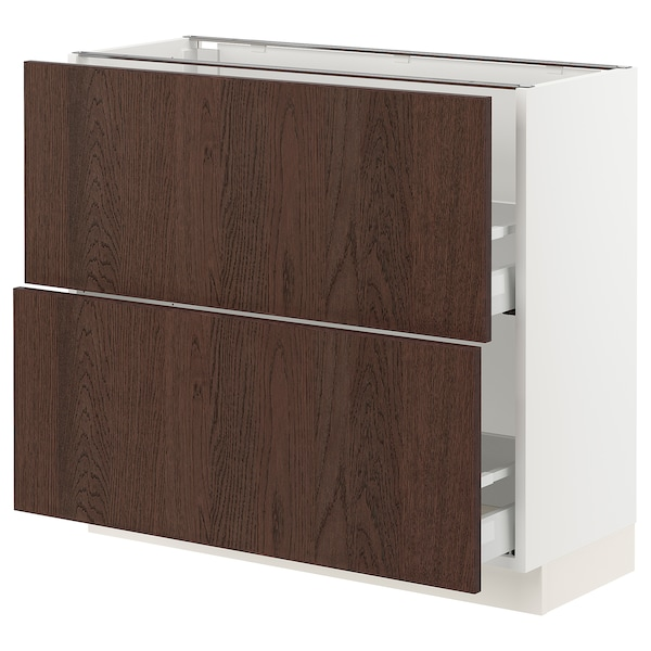 """SEKTION / MAXIMERA Armoire inférieure 2 tiroirs, blanc/Sinarp brun, 36x15x30 """""""