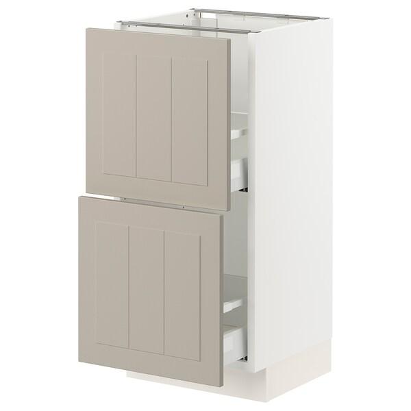 "SEKTION / MAXIMERA Armoire inférieure 2 tiroirs, blanc/Stensund beige, 15x15x30 """