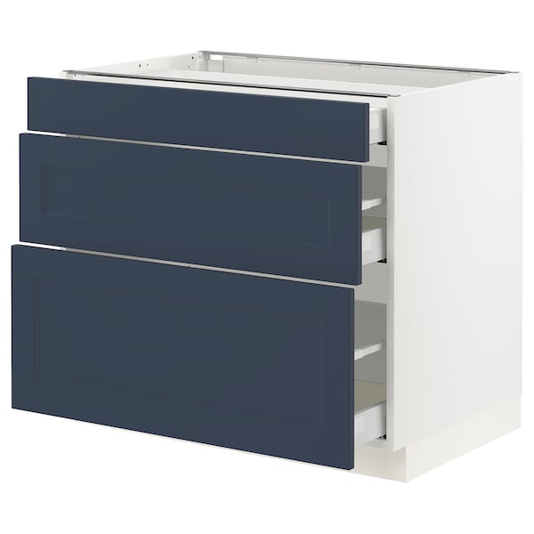 "SEKTION / MAXIMERA Armoire inférieure 3 tiroirs, blanc Axstad/mat bleu, 36x24x30 """