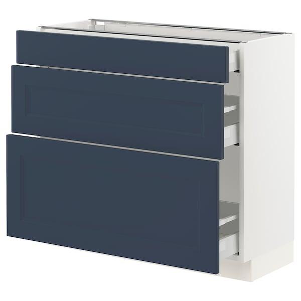 "SEKTION / MAXIMERA Armoire inférieure 3 tiroirs, blanc Axstad/mat bleu, 36x15x30 """
