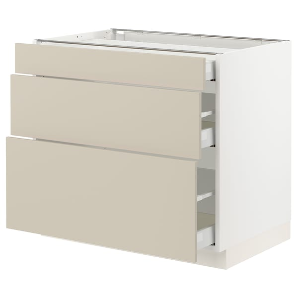 "SEKTION / MAXIMERA Armoire inférieure 3 tiroirs, blanc/Havstorp beige, 36x24x30 """
