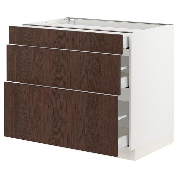 """SEKTION / MAXIMERA Armoire inférieure 3 tiroirs, blanc/Sinarp brun, 36x24x30 """""""