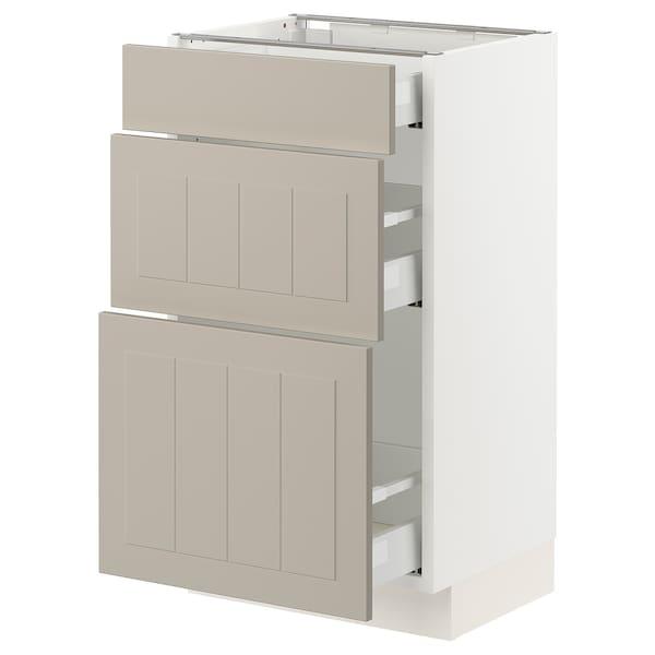 "SEKTION / MAXIMERA Armoire inférieure 3 tiroirs, blanc/Stensund beige, 18x15x30 """