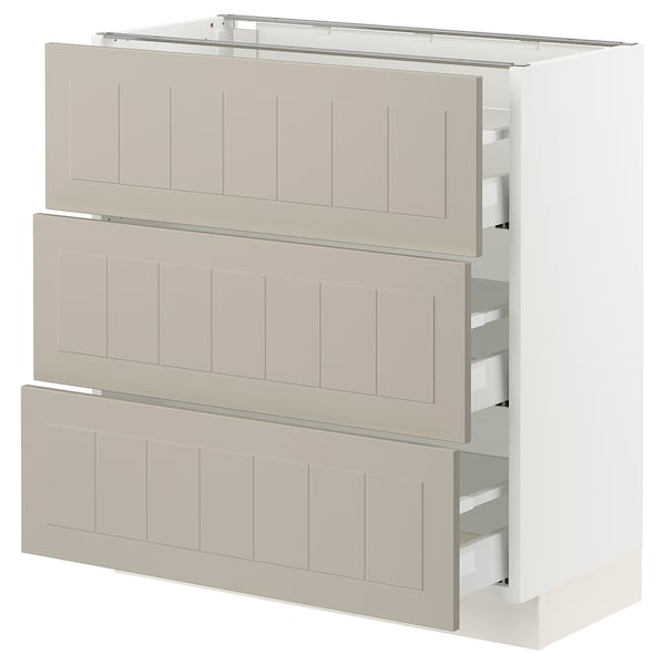 "SEKTION / MAXIMERA Armoire inférieure 3 tiroirs, blanc/Stensund beige, 30x15x30 """