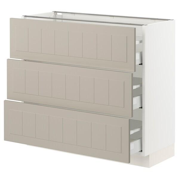 "SEKTION / MAXIMERA Armoire inférieure 3 tiroirs, blanc/Stensund beige, 36x15x30 """