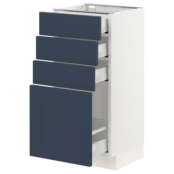 "SEKTION / MAXIMERA Armoire inférieure 4 tiroirs, blanc Axstad/mat bleu, 15x15x30 """