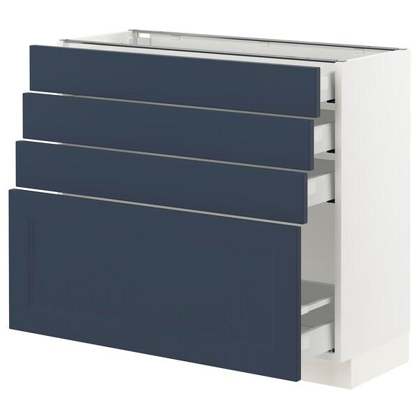 "SEKTION / MAXIMERA Armoire inférieure 4 tiroirs, blanc Axstad/mat bleu, 36x15x30 """