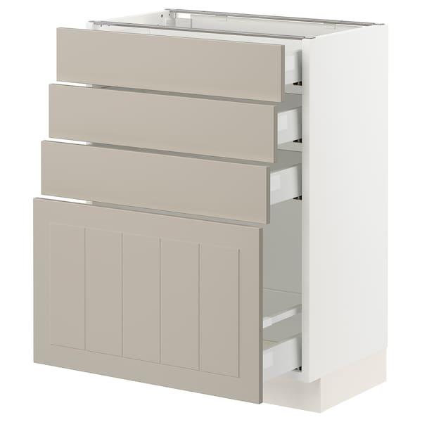 "SEKTION / MAXIMERA Armoire inférieure 4 tiroirs, blanc/Stensund beige, 24x15x30 """