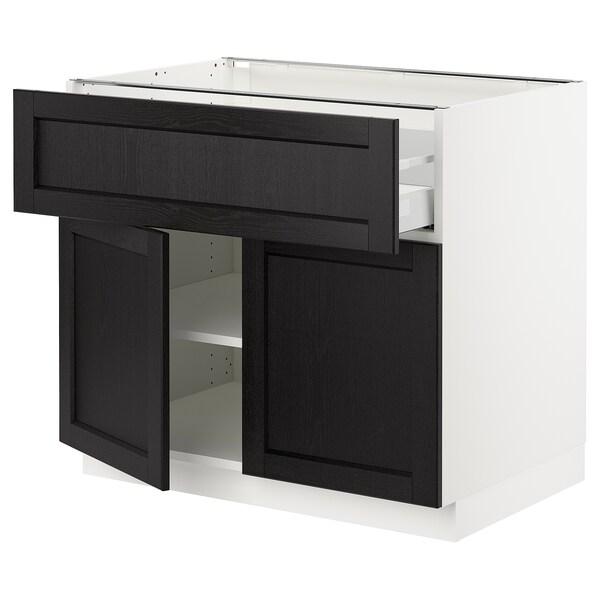 """SEKTION / MAXIMERA Armoire inférieure av tir/2 prtes, blanc/Lerhyttan teinté noir, 36x24x30 """""""