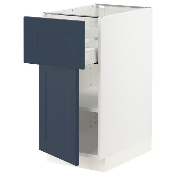 """SEKTION / MAXIMERA Armoire inférieure av tiroir/porte, blanc Axstad/mat bleu, 15x24x30 """""""