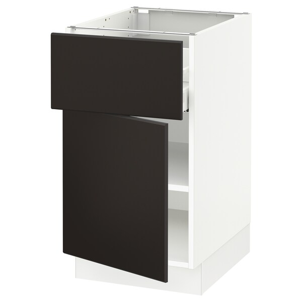 "SEKTION / MAXIMERA Armoire inférieure av tiroir/porte, blanc/Kungsbacka anthracite, 18x24x30 """