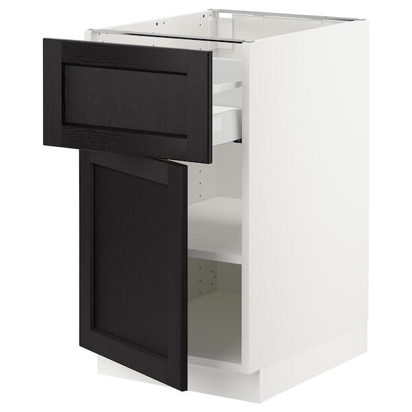 "SEKTION / MAXIMERA Armoire inférieure av tiroir/porte, blanc/Lerhyttan teinté noir, 18x24x30 """