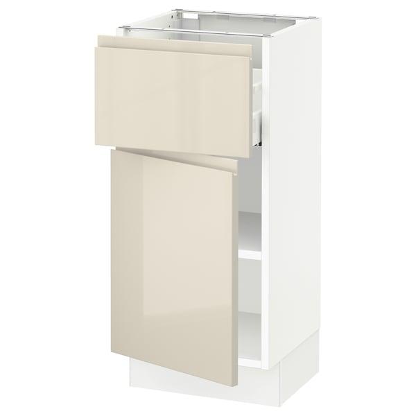 "SEKTION / MAXIMERA Armoire inférieure av tiroir/porte, blanc/Voxtorp beige clair ultrabrillant, 15x15x30 """