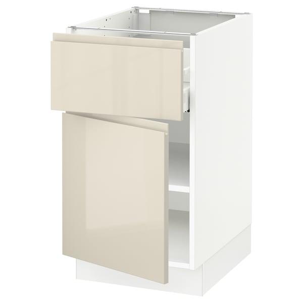 "SEKTION / MAXIMERA Armoire inférieure av tiroir/porte, blanc/Voxtorp beige clair ultrabrillant, 18x24x30 """
