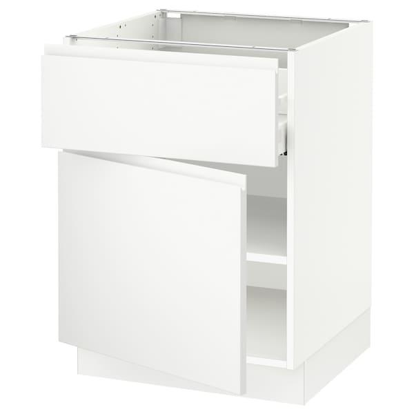 "SEKTION / MAXIMERA Armoire inférieure av tiroir/porte, blanc/Voxtorp blanc mat, 24x24x30 """