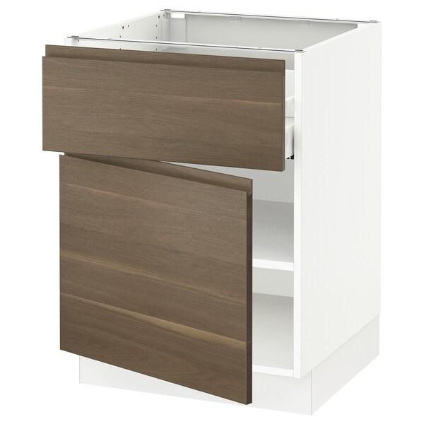 """SEKTION / MAXIMERA Armoire inférieure av tiroir/porte, blanc/Voxtorp effet noyer, 24x24x30 """""""