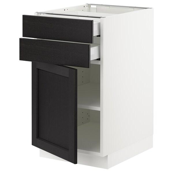 "SEKTION / MAXIMERA Armoire inférieure pte/2 tir, blanc/Lerhyttan teinté noir, 18x24x30 """