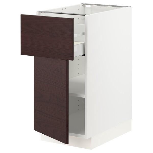 "SEKTION / MAXIMERA Armoire inférieure + tiroir/porte, blanc Askersund/brun foncé effet frêne, 15x24x30 """