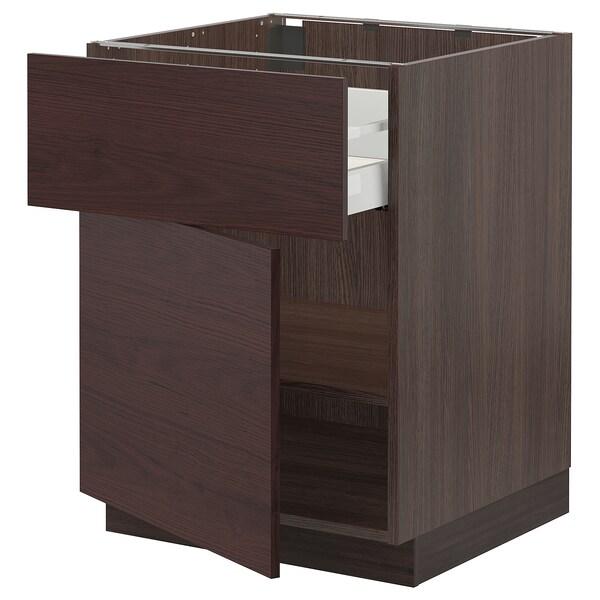 "SEKTION / MAXIMERA Armoire inférieure + tiroir/porte, brun Askersund/brun foncé effet frêne, 24x24x30 """