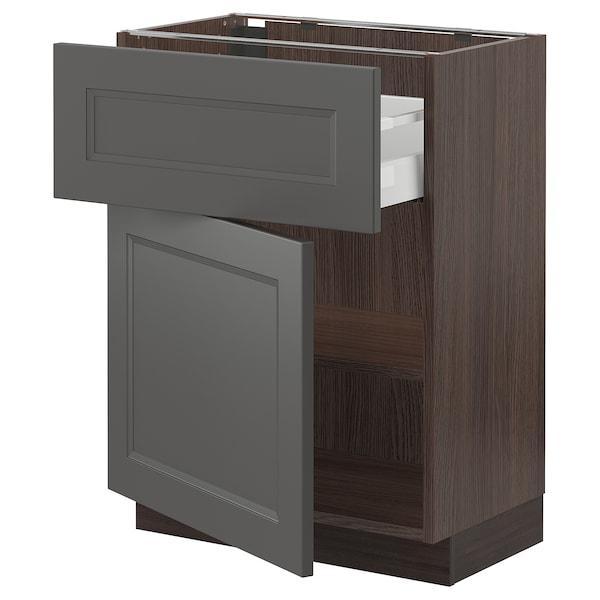 "SEKTION / MAXIMERA Armoire inférieure + tiroir/porte, brun/Axstad gris foncé, 24x15x30 """