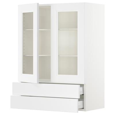 "SEKTION / MAXIMERA Armoire murale+2ptes vitrées/2tir, blanc/Axstad blanc mat, 30x15x40 """
