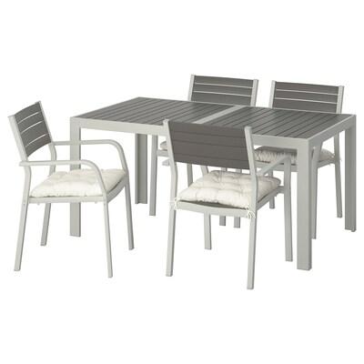 """SJÄLLAND Table+4 chaises accoud, extérieur, gris foncé/Kuddarna beige, 61 1/4x35 1/4 """""""