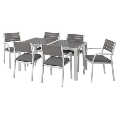 """SJÄLLAND Table+6 chaises accoud, extérieur, gris foncé/Frösön/Duvholmen gris foncé, 61 1/4x35 1/4 """""""
