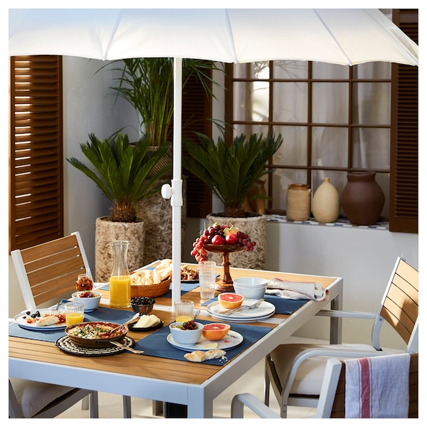 "SJÄLLAND Table, extérieur, brun clair/gris clair, 61 1/4x35 1/4 """