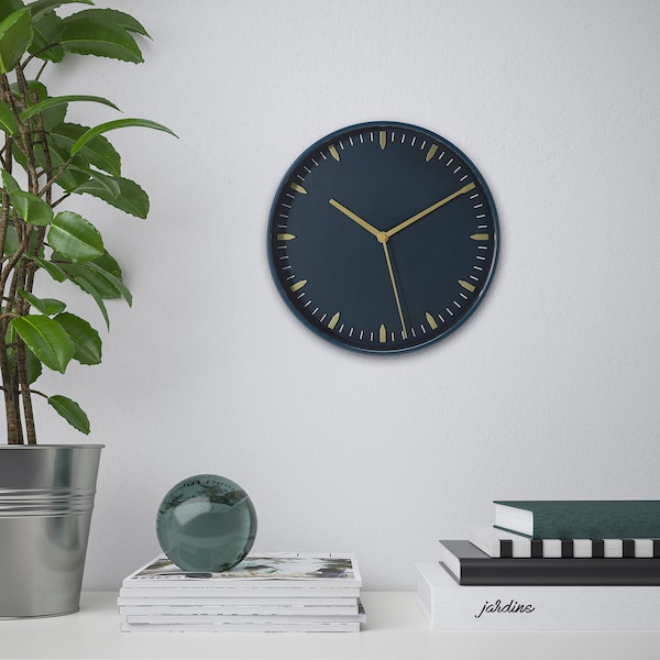 "SKÄRIG Horloge murale, bleu, 10 ¼ """