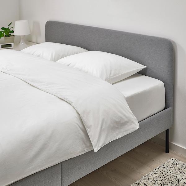 SLATTUM Structure de lit matelassée, Knisa gris clair, Grand deux places