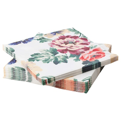 "SMAKSINNE Serviette en papier, multicolore/fleur, 13x13 """