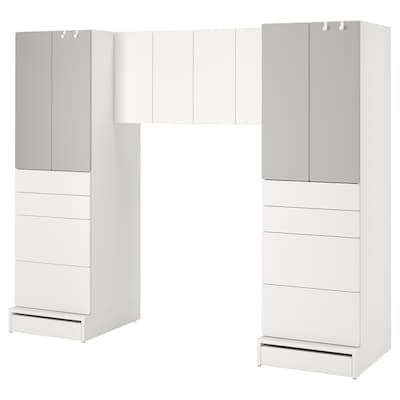 "SMÅSTAD / UPPFÖRA Meuble de rangement, blanc/gris, 94 1/2x24 3/4x77 1/8 """