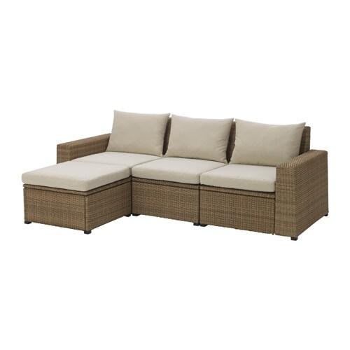 SOLLERÖN Canapé + repose-pieds, ext - brun/Hållö beige - IKEA
