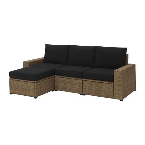 SOLLERÖN Canapé + repose-pieds, ext - brun/Kungsö noir - IKEA