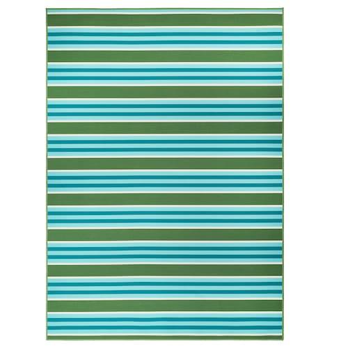 """SOMMAR 2020 tapis tissé plat, int/extérieur rayé/vert/blanc 7 ' 10 """" 5 ' 7 """" 0 """" 43.92 pied carré 2.62 oz/sq ft"""