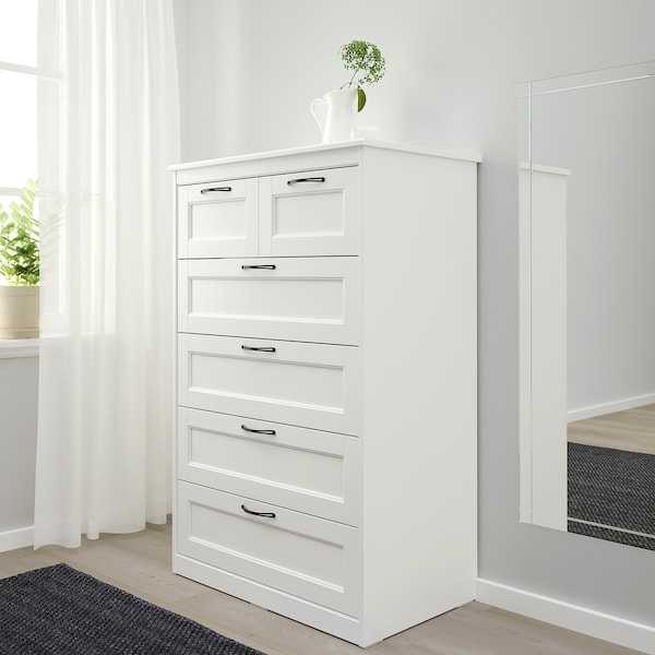 "SONGESAND commode à 6 tiroirs blanc 32 1/4 "" 19 5/8 "" 49 5/8 "" 28 "" 15 3/4 """