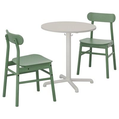 """STENSELE / RÖNNINGE Table et 2 chaises, gris clair gris clair/vert, 27 1/2 """""""