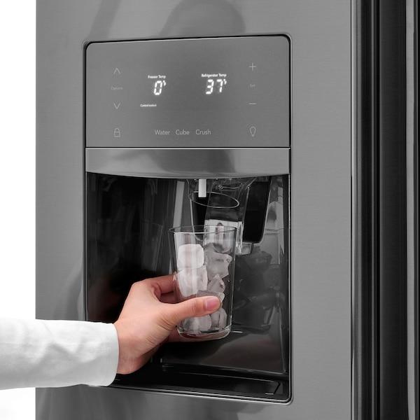 STJÄRNSTATUS Réfrigérateur 2 portes, noir acier inox, 21.7 cu.ft