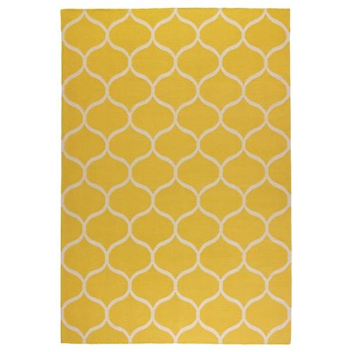 """STOCKHOLM tapis tissé plat fait main/motif à filet jaune 7 ' 10 """" 5 ' 7 """" ¼ """" 43.92 pied carré 4 oz/sq ft"""