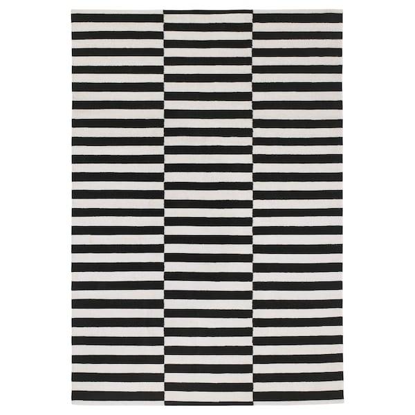 """STOCKHOLM Tapis tissé plat, fait main/rayé noir/blanc cassé, 5 ' 7 """"x7 ' 10 """""""