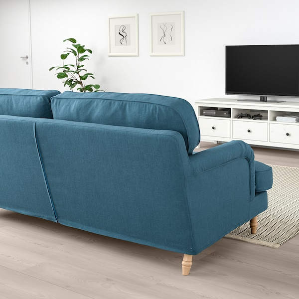 STOCKSUND Canapé, Ljungen bleu/brun clair/bois