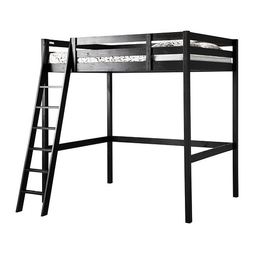 stor lit mezzanine noir ikea. Black Bedroom Furniture Sets. Home Design Ideas