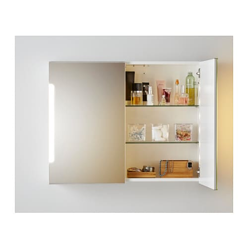 storjorm armoire miroir 2pte clairage int 80x21x64 cm. Black Bedroom Furniture Sets. Home Design Ideas