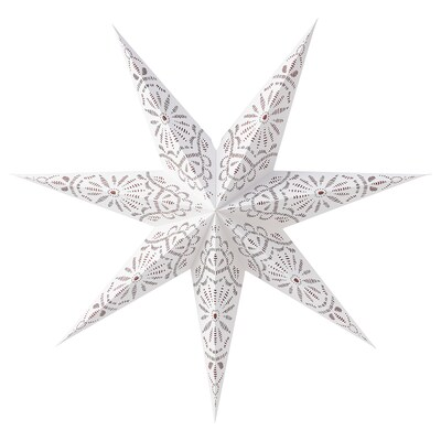 "STRÅLA Abat-jour, imprimé/dentelle blanc, 28 """