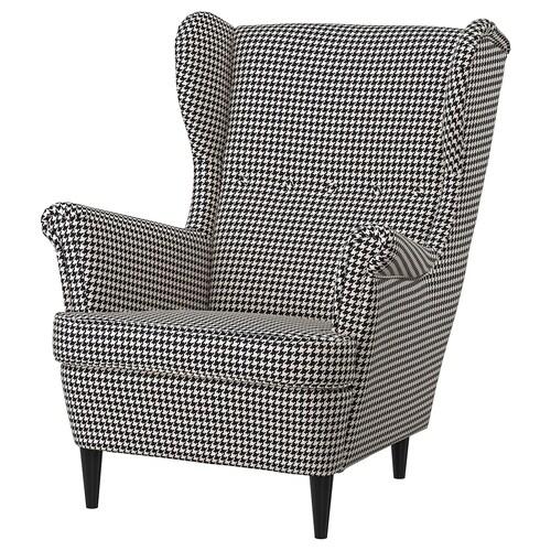 """STRANDMON fauteuil à oreilles Vibberbo noir/beige 32 1/4 """" 37 3/4 """" 39 3/4 """" 19 1/4 """" 21 1/4 """" 17 3/4 """""""