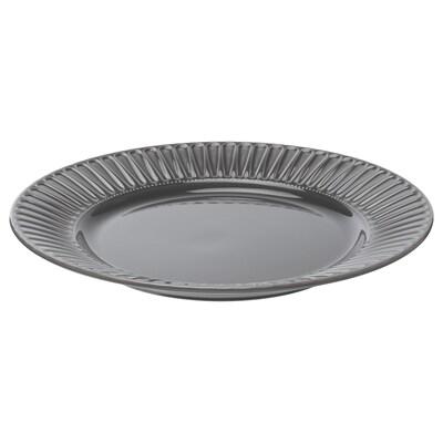 """STRIMMIG Assiette, grès gris, 10 ½ """""""
