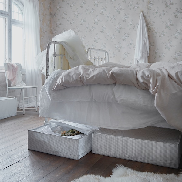 "STUK Boîte-tiroir, blanc/gris, 28x20x7 """